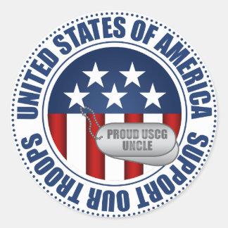 Proud Coast Guard Uncle Classic Round Sticker