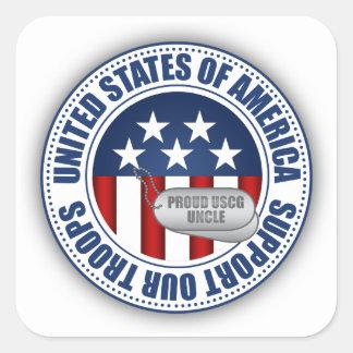Proud Coast Guard Uncle Square Sticker