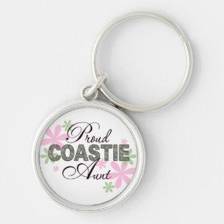 Proud Coastie Aunt Camo Silver-Colored Round Keychain