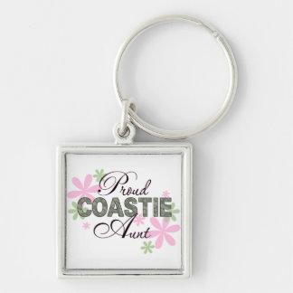 Proud Coastie Aunt Camo Silver-Colored Square Keychain