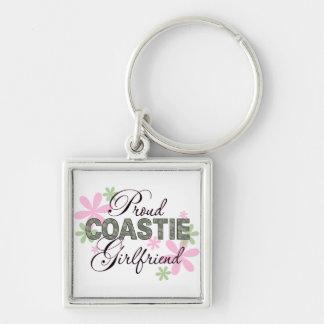 Proud Coastie Girlfriend Camo Silver-Colored Square Keychain