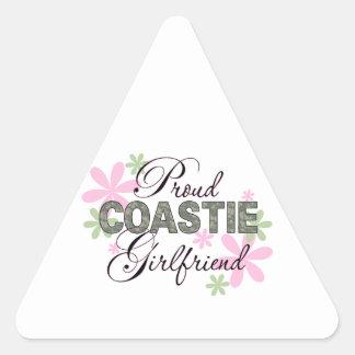 Proud Coastie Girlfriend Camo Triangle Sticker