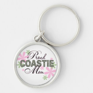 Proud Coastie Mom Camo Silver-Colored Round Keychain