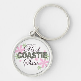 Proud Coastie Sister Camo Silver-Colored Round Keychain
