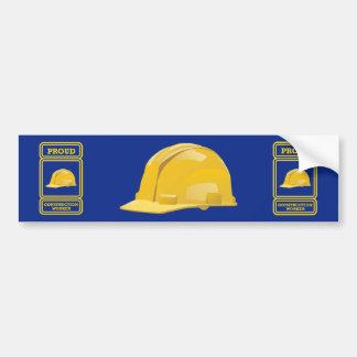 Proud Construction Worker Shield Car Bumper Sticker