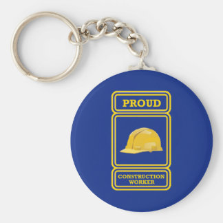 Proud Construction Worker Shield Key Chains