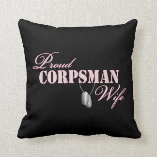 Proud Corpsman Wife Throw Pillows