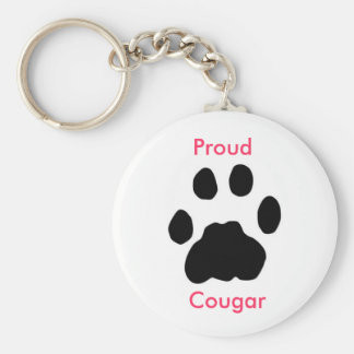 Proud Cougar with paw print Basic Round Button Keychain