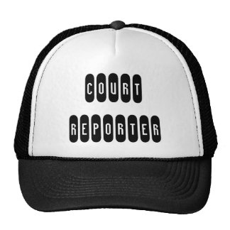 Proud court reporter black white letter hat