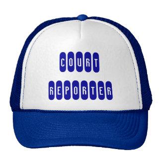 Proud court reporter bright blue white letter hat