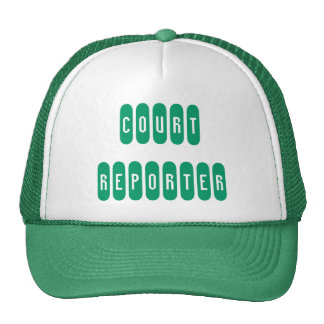 Proud court reporter green white letter hat
