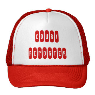 Proud court reporter red white letter hat
