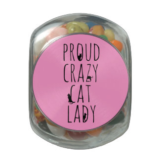 Proud Crazy Cat Lady Jelly Belly Candy Jar