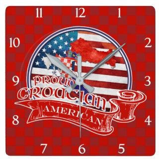 Proud Croatian American Square Wall Clock