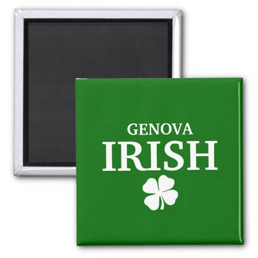 Proud Custom Genova Irish City T-Shirt 2 Inch Square Magnet