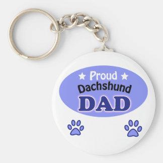 Proud Dachshund Dad Basic Round Button Keychain