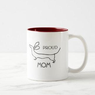 Proud dachshund Mom line illustration wiener mug