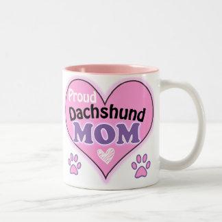 Proud Dachshund Mom Two-Tone Coffee Mug