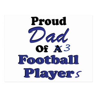 Proud Dad 3 Football Players Postcard