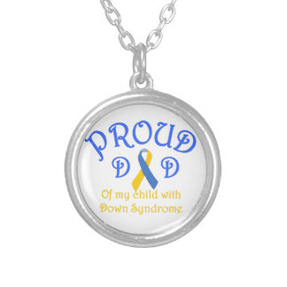 Proud Dad Down Syndrome Round Pendant Necklace