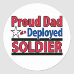 Proud Dad of a Deployed Soldier Round Stickers