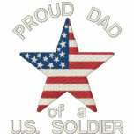 Proud DAD of a US Soldier Custom Name On Back Embroidered Hoodies