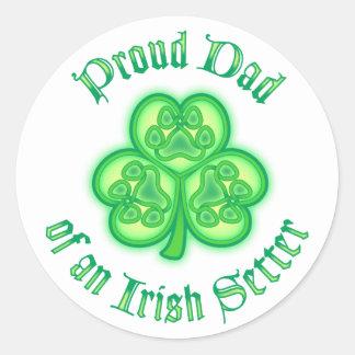 Proud Dad of an Irish Setter Classic Round Sticker