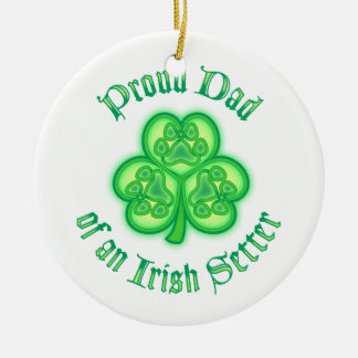 Proud Dad of an Irish Setter Double-Sided Ceramic Round Christmas Ornament