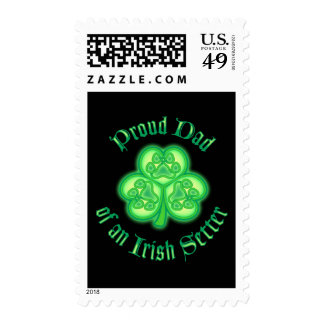 Proud Dad of an Irish Setter Postage Stamp