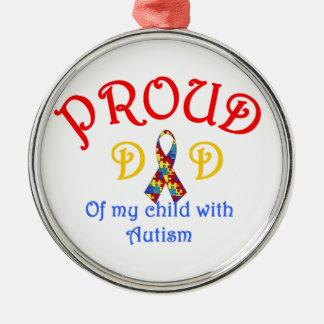 Proud Dad of Autism Metal Ornament