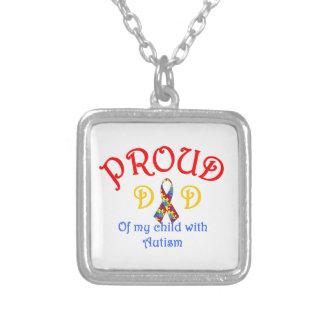 Proud Dad of Autism Square Pendant Necklace