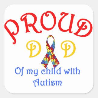 Proud Dad of Autism Square Stickers