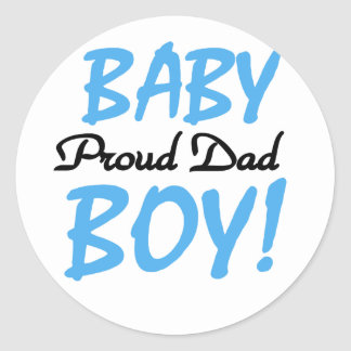 Proud Dad of Baby Boy Tshirts and Gifts Classic Round Sticker