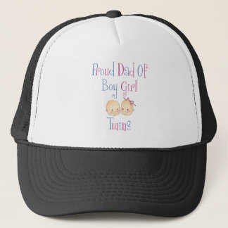 Proud Dad of Boy Girl Twins Trucker Hat