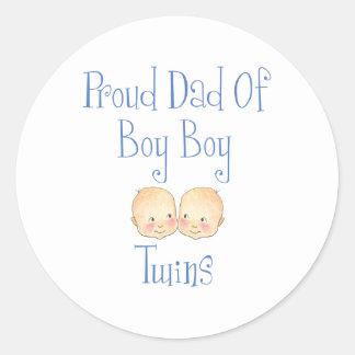 Proud Dad of Boy Twins Classic Round Sticker