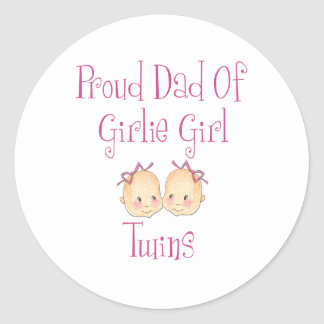 Proud Dad of Girl Twins Classic Round Sticker