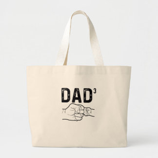 Proud Dad Of Three Daughters Or Sons Mens T-Shirt Large Tote Bag