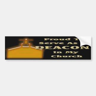 PROUD DEACON IN CHURCH BS DK CAR BUMPER STICKER
