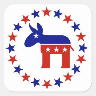 Proud Democrat Circle Stars Square Sticker