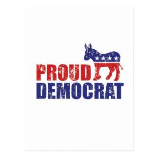 Proud Democrat Donkey Distressed Tan Postcard