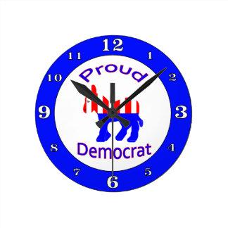 Proud Democrat Round Clock