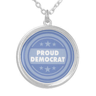 Proud Democrat Round Necklace