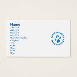 Proud Dog Lover Business Card