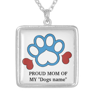 Proud Dogs Mom silver plated necklace