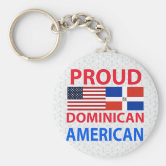 Proud Dominican American Basic Round Button Keychain
