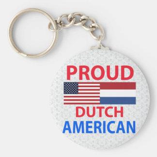 Proud Dutch American Basic Round Button Keychain
