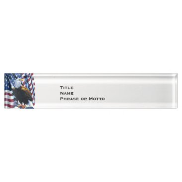 USA Themed Proud Eagle American Flag USA red white blue Nameplate