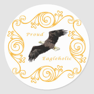 Proud Eagleholic Classic Round Sticker