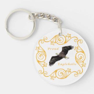 Proud Eagleholic Single-Sided Round Acrylic Keychain