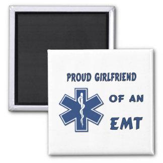 Proud EMT Girlfriend 2 Inch Square Magnet